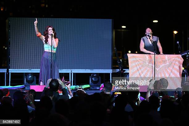 Musicians Amy Heidemann and Nick Noonan of Karmin perform at New York City Pride 2016 The Rally at Pier 26 on June 24 2016 in New York City