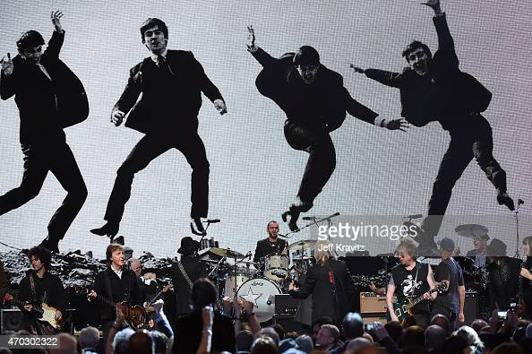Musicians and inductees perform onstage with inductee Ringo Starr during the 30th Annual Rock And Roll Hall Of Fame Induction Ceremony at Public Hall...