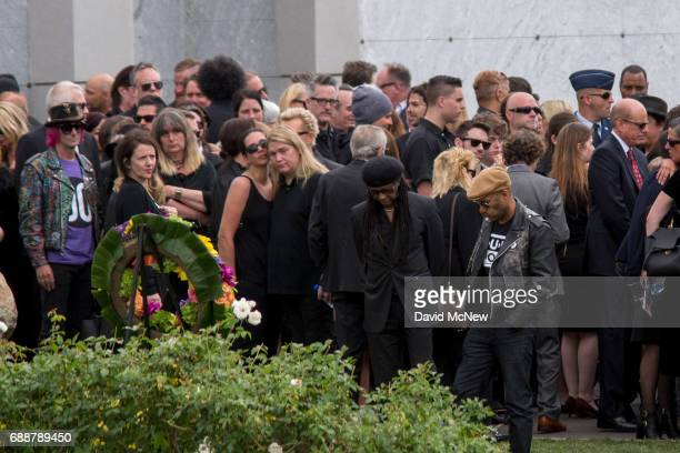 Musicians and loved ones stand graveside at funeral services for Soundgarden frontmanÊChris Cornell at Hollywood Forever Cemetery on May 26 2017 in...