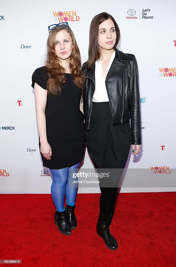 Musicians and political activist Masha Alekhina and Nadya Tolokonnikova attend the 5th Annual Women In The World Summit at the David Koch Theatre at Lincoln Center on April 3, 2014 in New York City.