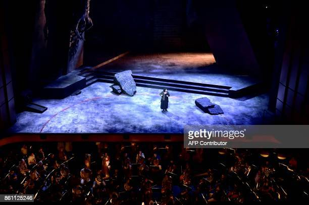 Musicians and singer of the 'national lyric scene' perform on October 10 2017 in Athens during a rehearsal of Richard Strauss's Elektra conducted by...
