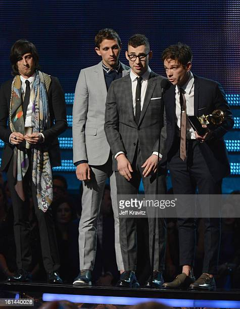 Musicians Andrew Dost Jack Antonoff and Nate Ruess of Fun onstage at the 55th Annual GRAMMY Awards at Staples Center on February 10 2013 in Los...