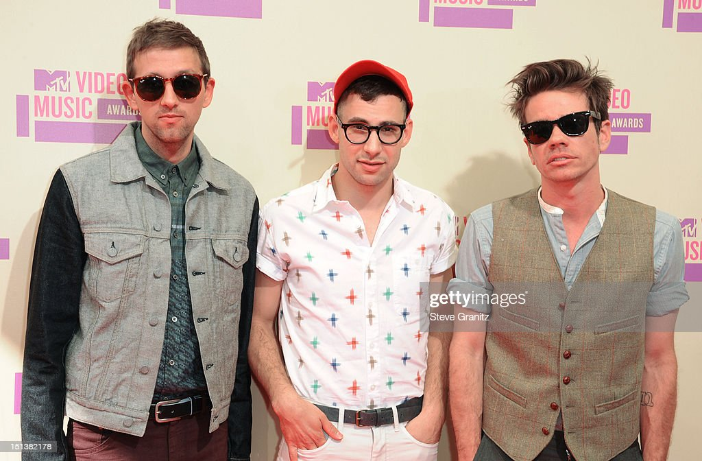 Musicians Andrew Dost Jack Antonoff and Nate Ruess of the band Fun arrive at the 2012 MTV Video Music Awards at Staples Center on September 6 2012 in...