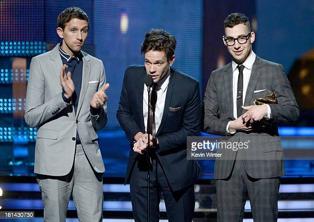Musicians Andrew Dost Nate Ruess and Jack Antonoff of Fun accept the Grammy for Best New Artist onstage during the 55th Annual GRAMMY Awards at...
