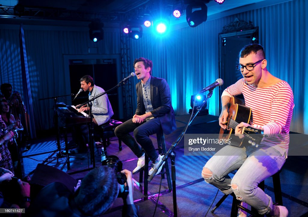 Musicians <a gi-track='captionPersonalityLinkClicked' href=/galleries/search?phrase=Andrew+Dost&family=editorial&specificpeople=7336071 ng-click='$event.stopPropagation()'>Andrew Dost</a>, <a gi-track='captionPersonalityLinkClicked' href=/galleries/search?phrase=Nate+Ruess&family=editorial&specificpeople=6897270 ng-click='$event.stopPropagation()'>Nate Ruess</a>, and <a gi-track='captionPersonalityLinkClicked' href=/galleries/search?phrase=Jack+Antonoff&family=editorial&specificpeople=2565373 ng-click='$event.stopPropagation()'>Jack Antonoff</a> of the band Fun. perform a private concert to celebrate Delta Air Lines' Nonstop NYC challenge at SLS Hotel on Feb. 4, 2013 in Beverly Hills, California.