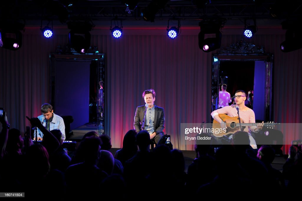Musicians Andrew Dost, Nate Ruess, and Jack Antonoff of the band Fun. perform a private concert to celebrate Delta Air Lines' Nonstop NYC challenge at SLS Hotel on Feb. 4, 2013 in Beverly Hills, California.
