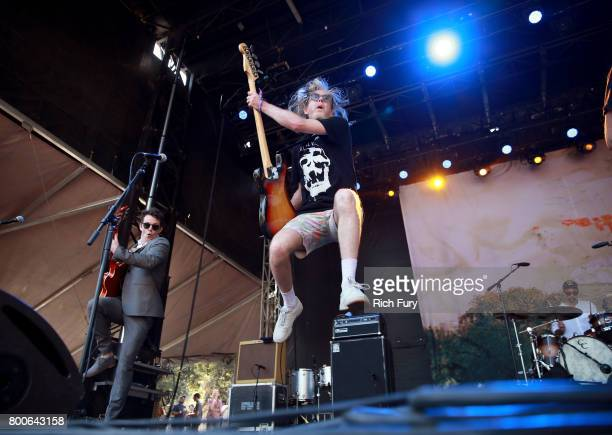 Musicians Andrew Whiteman and Brendan Canning of Musical group Broken Social Scene perform on the Sycamore stage during Arroyo Seco Weekend at the...