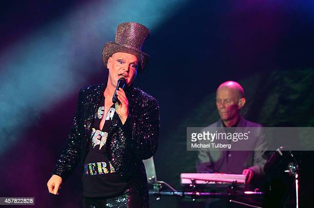 Musicians Andy Bell and Vince Clark of Erasure perform at Hollywood Palladium on October 24 2014 in Hollywood California