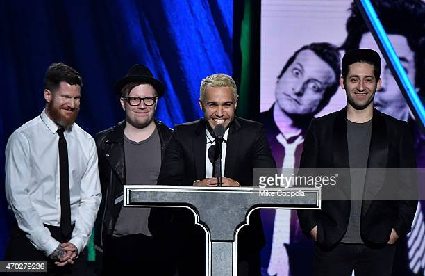 Musicians Andy Hurley Patrick Stump Pete Wentz and Joe Trohman of Fall Out Boy induct Green Day during the 30th Annual Rock And Roll Hall Of Fame...