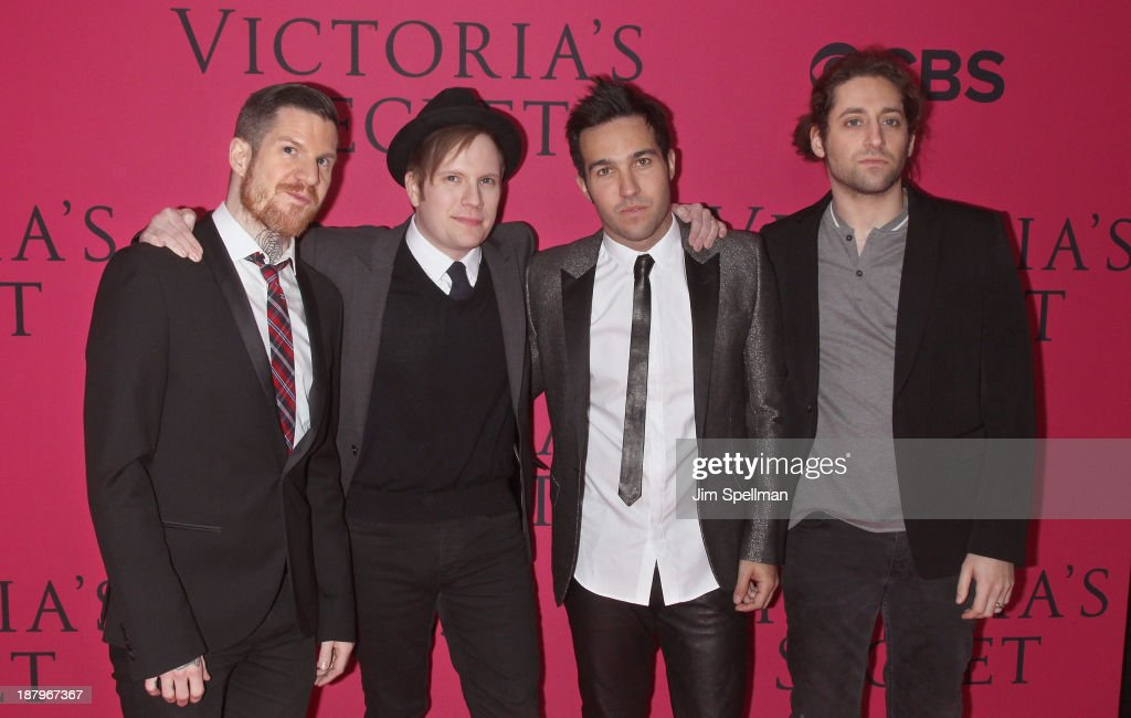 Musicians Andy Hurley, <a gi-track='captionPersonalityLinkClicked' href=/galleries/search?phrase=Patrick+Stump&family=editorial&specificpeople=557078 ng-click='$event.stopPropagation()'>Patrick Stump</a>, Peter Wentz and <a gi-track='captionPersonalityLinkClicked' href=/galleries/search?phrase=Joe+Trohman&family=editorial&specificpeople=557077 ng-click='$event.stopPropagation()'>Joe Trohman</a> of Fall Out Boy attend the 2013 Victoria's Secret Fashion Show at Lexington Avenue Armory on November 13, 2013 in New York City.