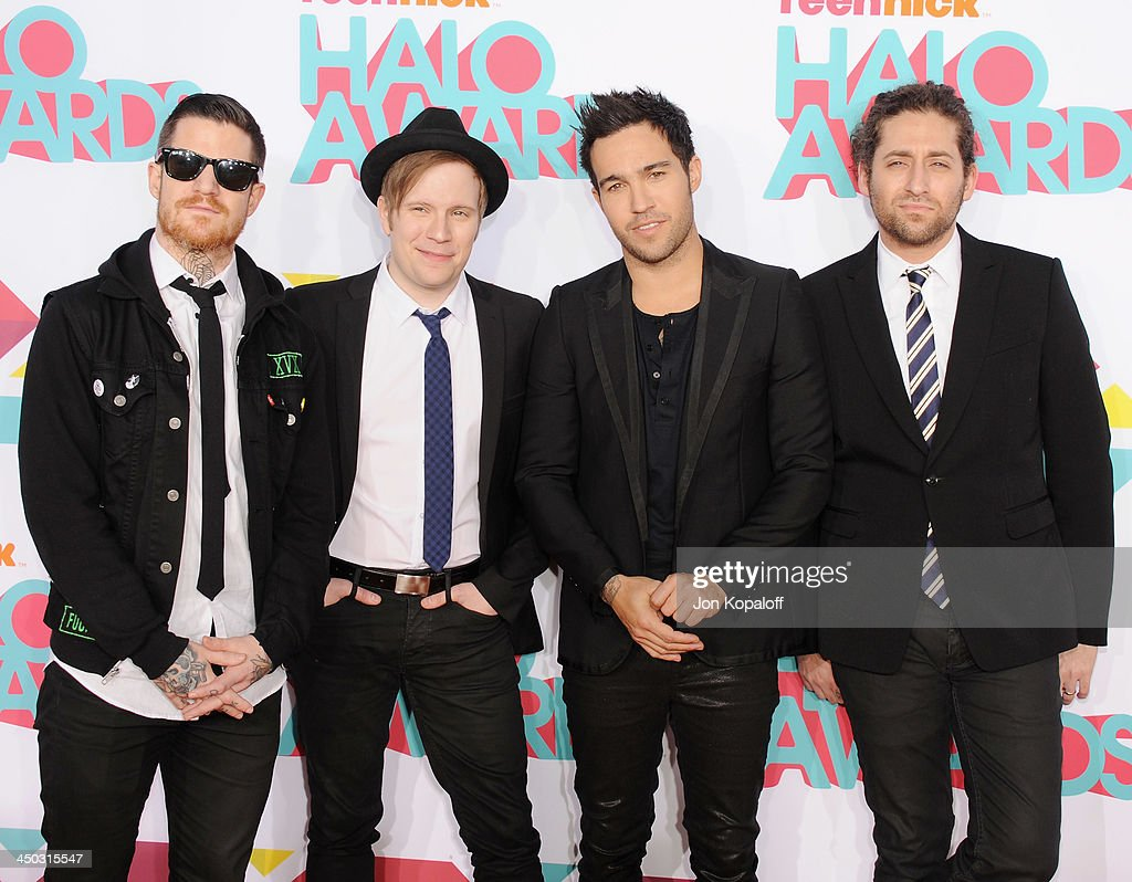 Musicians Andy Hurley, Patrick Stump, Peter Wentz and Joe Trohman of Fall Out Boy arrive at the 2013 TeenNick HALO Awards at Hollywood Palladium on November 17, 2013 in Hollywood, California.