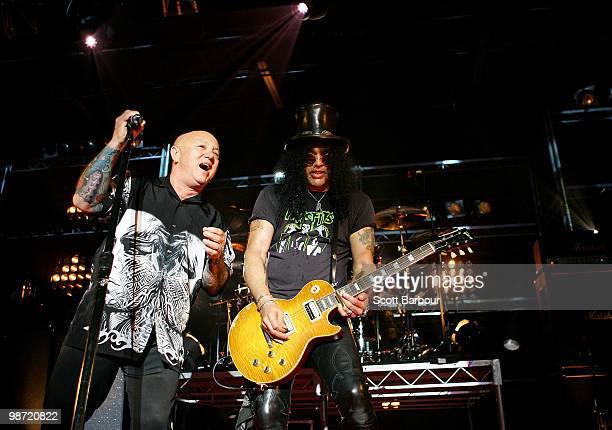 Musicians Angry Anderson and Slash performs on stage at the 'MTV Classic The Launch' music event at the Palace Theatre on April 28 2010 in Melbourne...