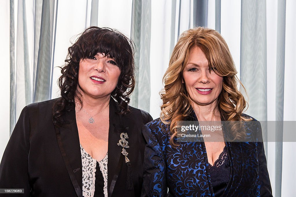 Musicians Ann Wilson (L) and Nancy Wilson of Heart attend the Rock & Roll Hall of Fame 2013 Inductee Press Conference at Nokia Theatre L.A. Live on December 11, 2012 in Los Angeles, California.