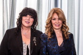 Musicians Ann Wilson and Nancy Wilson of Heart attend the Rock Roll Hall of Fame 2013 Inductee Press Conference at Nokia Theatre LA Live on December...