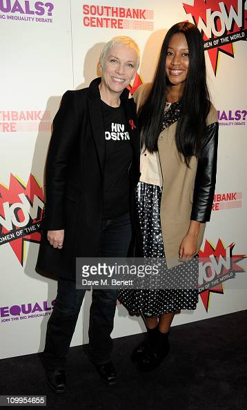 Musicians Annie Lennox and VV Brown pose in the press room before performing at EQUALS Live a special evening to celebrate the strength and unity of...