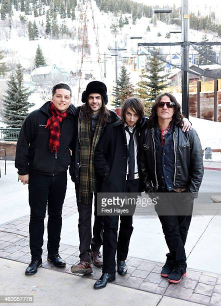 Musicians Anthony Burulicich Brian Bell Jon LaRue and Nate Shaw of the band The Relationship pose for a portrait before performing at the Sundance...