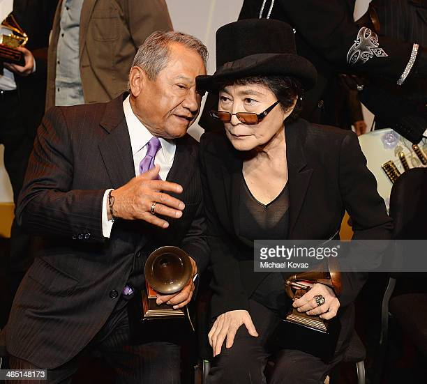 Musicians Armando Manzanero and Yoko Ono attend the Special Merit Awards Ceremony of the 56th GRAMMY Awards on January 25 2014 in Los Angeles...