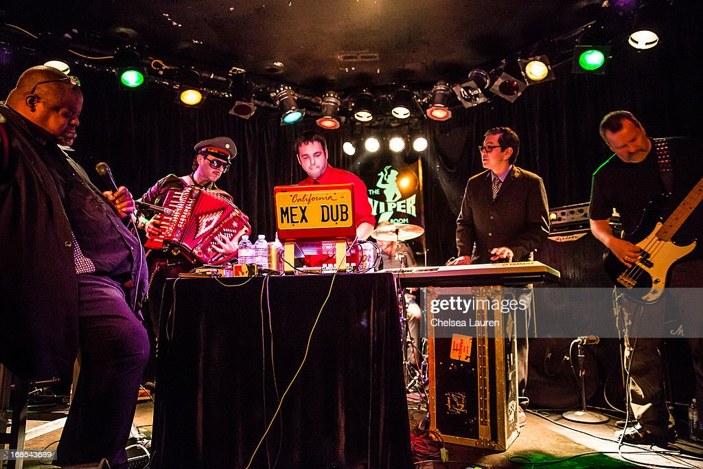 Musicians Artwork Jamal, Ulises Lozano, Marcelo Tijerina aka Mexican Dubwiser, Money Mark and Billy Gould of Faith No More perform with Mexican Dubwiser at Viper Room on May 10, 2013 in West Hollywood, California.