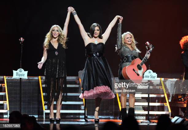 Musicians Ashley Monroe Angaleena Presley and Miranda Lambert of the Pistol Annies perform onstage during the 2012 iHeartRadio Music Festival at the...