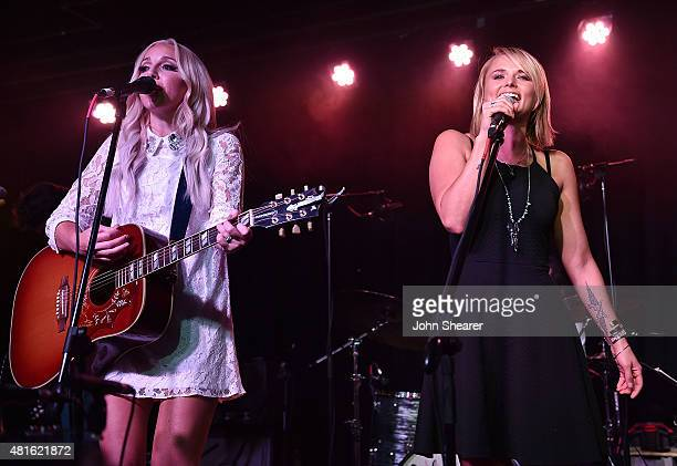 Musicians Ashley Monroe left and Miranda Lambert perform at the Ashley Monroe And Friends concert presented by SiriusXM at The Basement East on July...