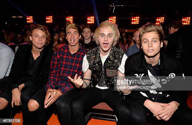 Musicians Ashton Irwin Calum Hood Michael Clifford and Luke Hemmings of 5 Seconds of Summer onstage during Nickelodeon's 28th Annual Kids' Choice...