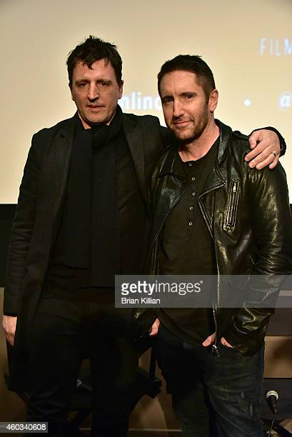 Musicians Atticus Ross and Trent Reznor attend the special screening of 'Gone Girl' at Elinor Bunin Munroe Film Center on December 11 2014 in New...