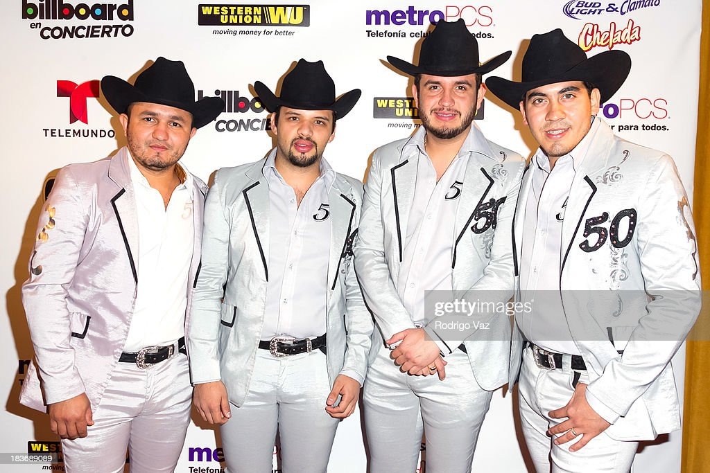 Musicians Augusto Guido, Martin Lopez, Eden Munoz and Armando Ramos of Calibre 50 attend Billboard In Concert Series presents Calibre 50 at The Conga Room at L.A. Live on October 8, 2013 in Los Angeles, California.