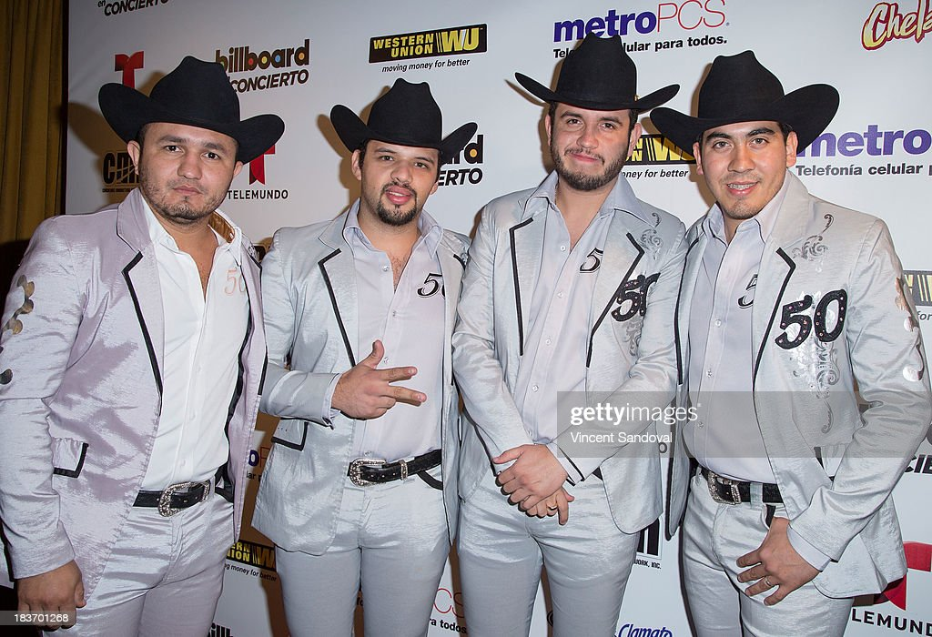 Musicians Augusto Guido, Martin Lopez, Eden Munoz and Armando Ramos of Calibre 50 attend Billboard In Concert Series presents Calibre 50 at The Conga Room at The Conga Room at L.A. Live on October 8, 2013 in Los Angeles, California.
