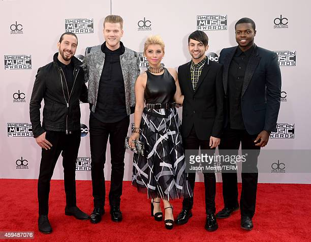 Musicians Avi Kaplan Scott Hoying Kirstie Maldonado Mitch Grassi and Kevin Olusola of Pentatonix attend the 2014 American Music Awards at Nokia...