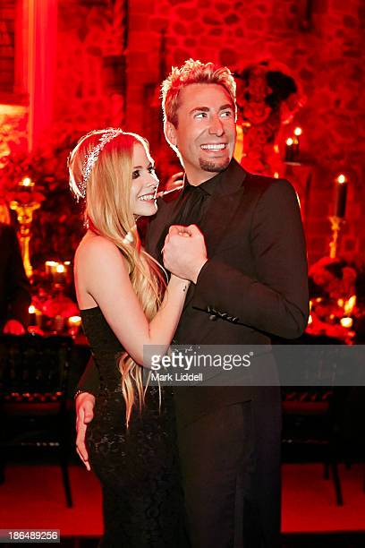 Musicians Avril Lavigne Chad Kroeger are photographed on their wedding day for People Magazine on July 2 2013 in MandelieulaNapoule France