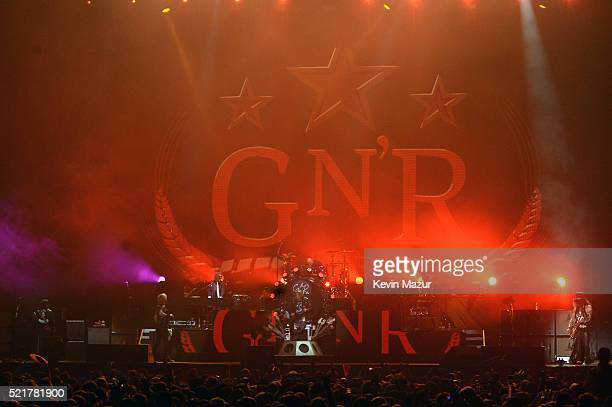 Musicians Axl Rose and Slash of Guns N' Roses perform onstage during day 2 of the 2016 Coachella Valley Music Arts Festival Weekend 1 at the Empire...