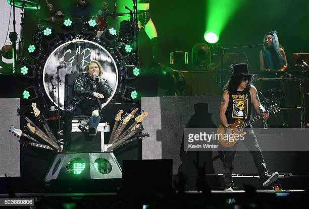 Musicians Axl Rose Slash and Melissa Reese of Guns N' Roses perform onstage during day 2 of the 2016 Coachella Valley Music Arts Festival Weekend 2...