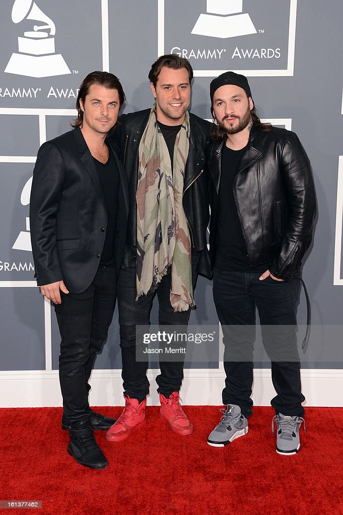 Musicians Axwell, Sebastian Ingrosso, and Steve Angello of Swedish House Mafia arrive at the 55th Annual GRAMMY Awards at Staples Center on February 10, 2013 in Los Angeles, California.