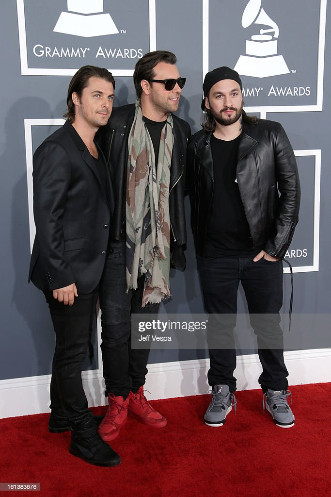 Musicians Axwell, Sebastian Ingrosso, and Steve Angello of Swedish House Mafia attend the 55th Annual GRAMMY Awards at STAPLES Center on February 10, 2013 in Los Angeles, California.