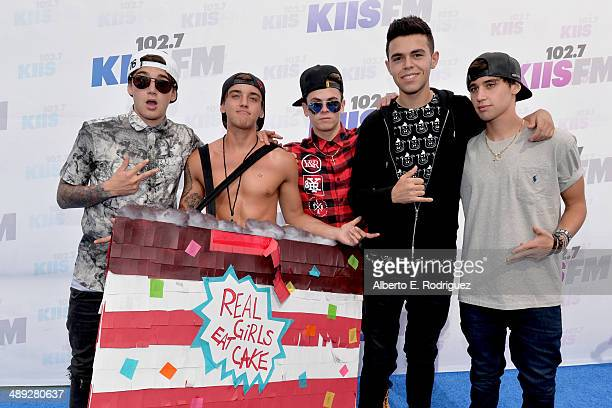 Musicians Beau Brooks Jai Brooks Daniel Sahyounie James Yammouni and Luke Brooks of The Janoskians attends 1027 KIIS FM's 2014 Wango Tango at StubHub...