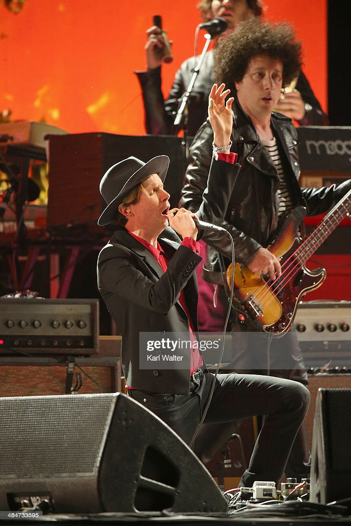 Musicians <a gi-track='captionPersonalityLinkClicked' href=/galleries/search?phrase=Beck+-+Musician&family=editorial&specificpeople=149906 ng-click='$event.stopPropagation()'>Beck</a> and Justin Meldal-Johnsen perform onstage during day 3 of the 2014 Coachella Valley Music & Arts Festival at the Empire Polo Club on April 13, 2014 in Indio, California.