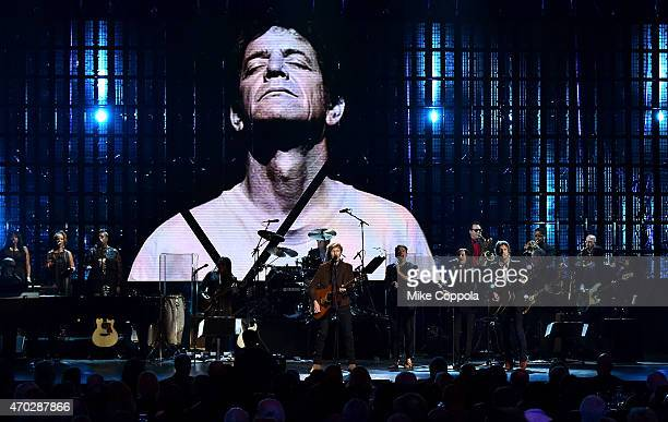 Musicians Beck and Nate Ruess perform a Lou Reed song onstage during the 30th Annual Rock And Roll Hall Of Fame Induction Ceremony at Public Hall on...