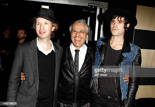 Musicians Beck Caetano Veloso and Devendra Banhart attend 'The Artist's Museum Happening' MOCA Los Angeles Gala sponsored by Chanel Fine Jewelry held...