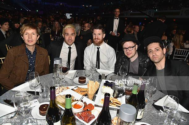 Musicians Beck Pete Wentz Andy Hurley Patrick Stump and Joe Trohman attend the 30th Annual Rock And Roll Hall Of Fame Induction Ceremony at Public...