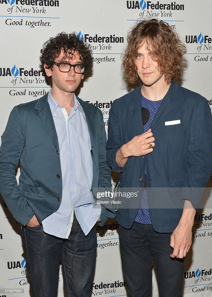 Musicians Ben Goldwasser (L) and Andrew Vanwyngarden attend UJA-Federation Of New York Music Visionary Of The Year Award Luncheon at The Pierre Hotel on June 21, 2013 in New York City.