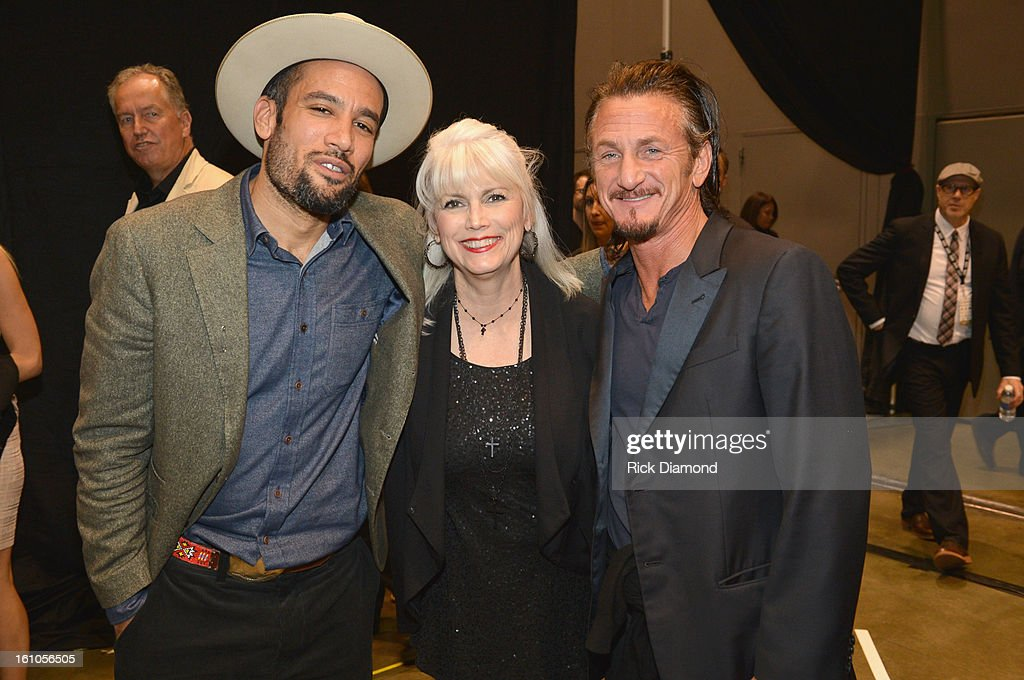 Musicians <a gi-track='captionPersonalityLinkClicked' href=/galleries/search?phrase=Ben+Harper&family=editorial&specificpeople=206209 ng-click='$event.stopPropagation()'>Ben Harper</a> and <a gi-track='captionPersonalityLinkClicked' href=/galleries/search?phrase=Emmylou+Harris&family=editorial&specificpeople=240263 ng-click='$event.stopPropagation()'>Emmylou Harris</a> and actor <a gi-track='captionPersonalityLinkClicked' href=/galleries/search?phrase=Sean+Penn&family=editorial&specificpeople=202979 ng-click='$event.stopPropagation()'>Sean Penn</a> attend MusiCares Person Of The Year Honoring <a gi-track='captionPersonalityLinkClicked' href=/galleries/search?phrase=Bruce+Springsteen&family=editorial&specificpeople=123832 ng-click='$event.stopPropagation()'>Bruce Springsteen</a> at the Los Angeles Convention Center on February 8, 2013 in Los Angeles, California.