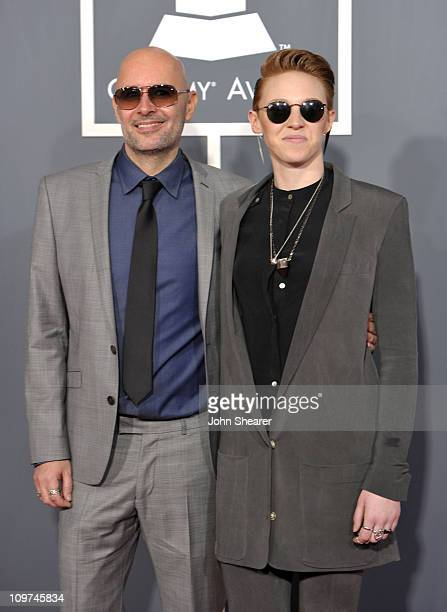 Musicians Ben Langmaid and Elly Jackson of La Roux arrive at The 53rd Annual GRAMMY Awards held at Staples Center on February 13 2011 in Los Angeles...