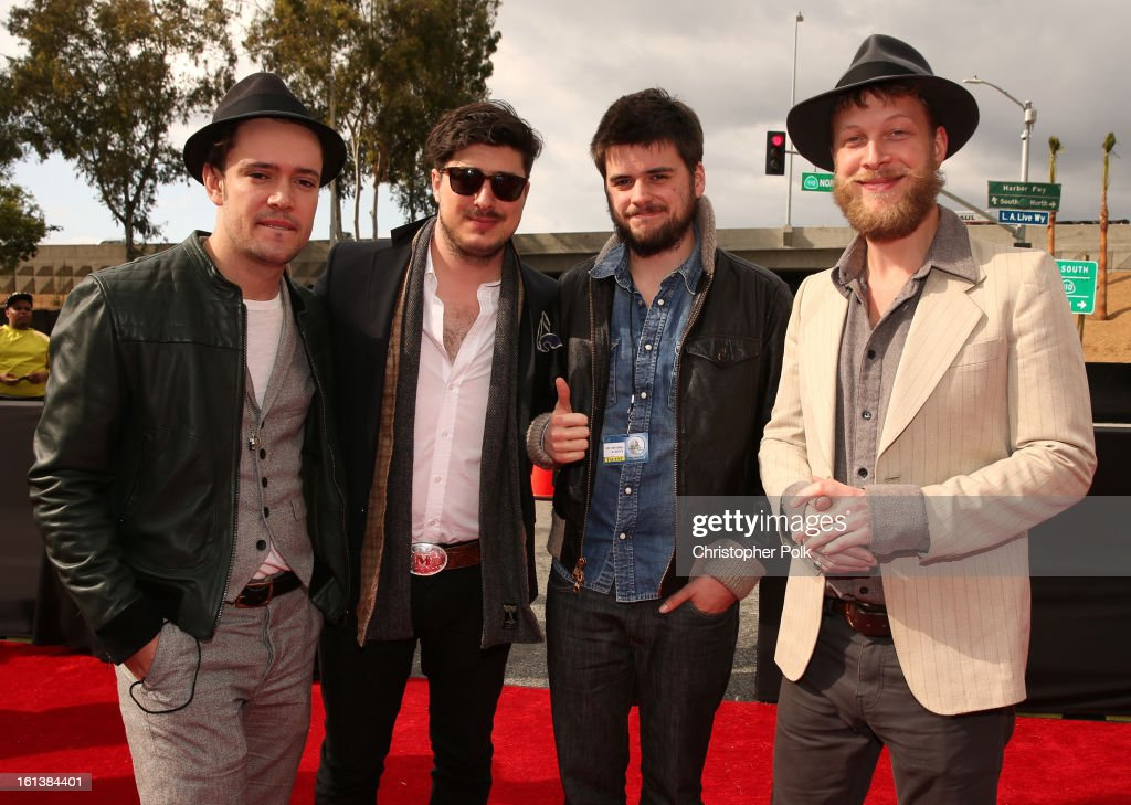 Musicians Ben Lovett Marcus Mumford 'Country' Winston Marshall and Ted Dwane of Mumford Sons attends the 55th Annual GRAMMY Awards at STAPLES Center...