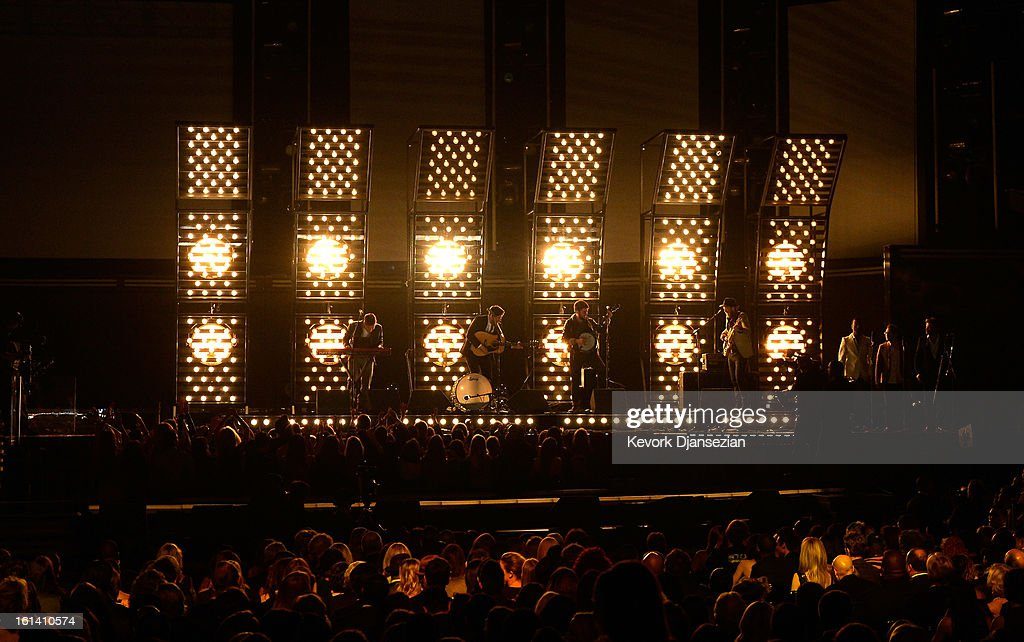 Musicians Ben Lovett Marcus Mumford Winston Marshall and Ted Dwane of Mumford Sons perform onstage at the 55th Annual GRAMMY Awards at Staples Center...