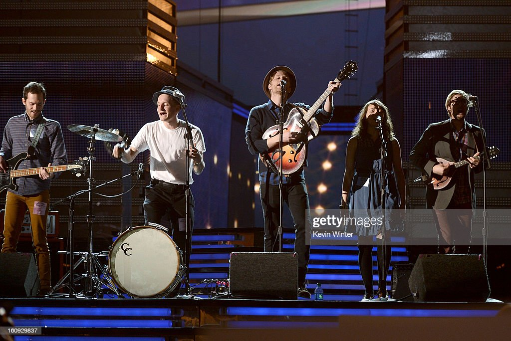 Musicians Ben Wahamaki, Jeremiah Fraites, Wesley Schultz, Neyla Pekarek, and Stelth Ulvang of The Lumineers rehearse onstage during the 55th Annual GRAMMY Awards at the STAPLES Center on February 7, 2013 in Los Angeles, California.