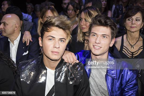 Musicians Benjamin Mascolo and Federico Rossi members of the musical group Benji Fede during the Milano Fashion Week Milan 25th September 2016