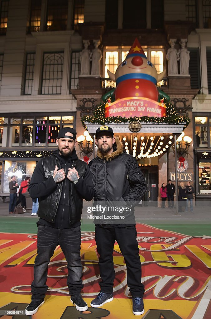 Musicians Benji Madden and Joel Madden take part in the 88th Annual Macy's Thanksgiving Day Parade day 2 rehearsals on November 25, 2014 in New York City.