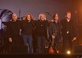Musicians Bernie Leadon Timothy B Schmit Joe Walsh Jackson Browne and Don Henley paying tribute to Eagles founder Glenn Frey appear onstage during...