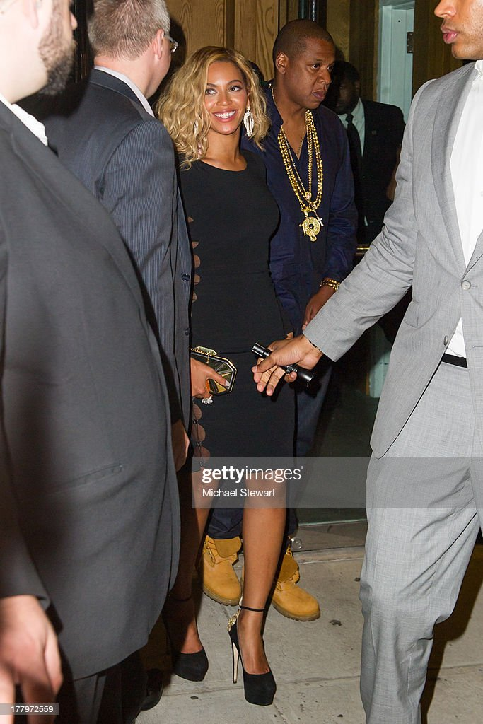 Musicians Beyonce (L) and Jay Z seen on the streets of Manhattan on August 25, 2013 in New York City.