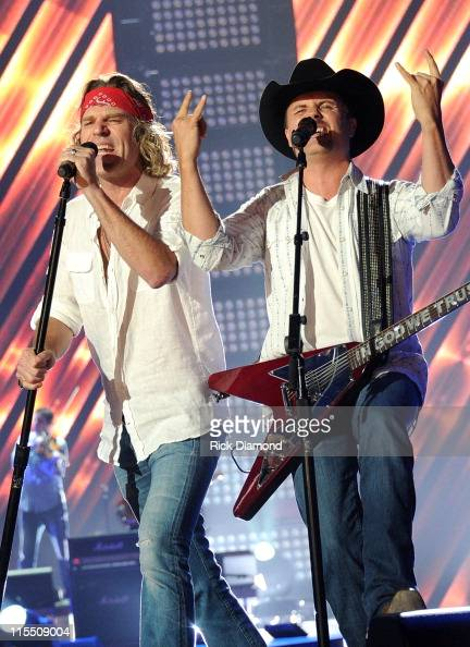 Musicians Big Kenny and John Rich of Big Rich perform onstage during Day 1 of rehearsals for the 2011 CMT Music Awards at Bridgestone Arena on June 7...
